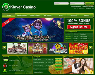 Klaver casino voorpagina screenshot
